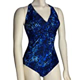 Speedo Women's One Piece Swimsuit Wrap Front Padded Cross Back (18, Blue)