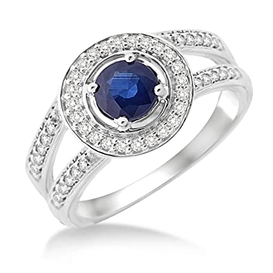 Miore Sapphire Ring, 9 ct White Gold, Diamond Setting