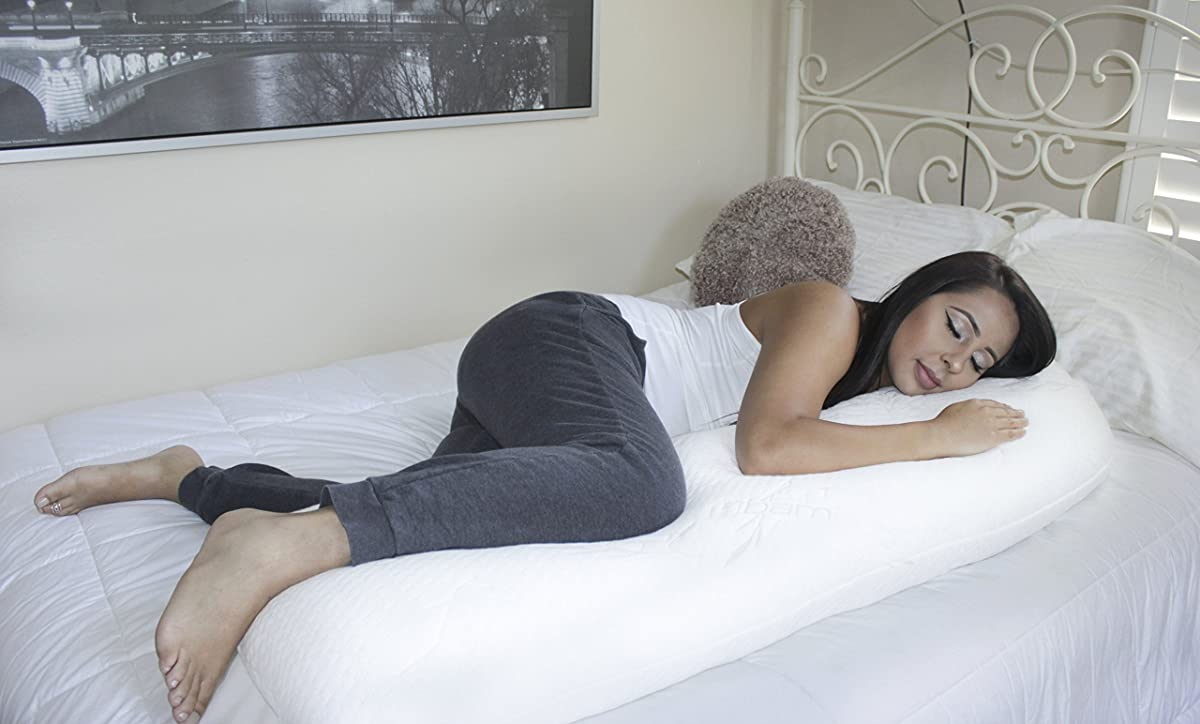 Snuggling Body Pillow with Shredded Memory Foam Cluster Gel Fibers & Cool-Nature Bamboo Cover by CustomSleeping, Made in USA