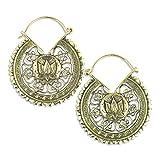 Lotus Mandala Brass Earrings Ear Gauges Piercing Jewelry