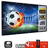 120 Inch Projector Screen 16:9 HD Foldable Portable Anti-Crease Indoor Outdoor Movie Screen Support Double Slides Projection for Home Theater Gaming Office (Color: black, Tamaño: 120 inch)