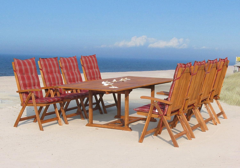 Garten Möbelgruppe Cuba 17tlg Rubin gestreift mit ausziehbaren Tisch bestellen