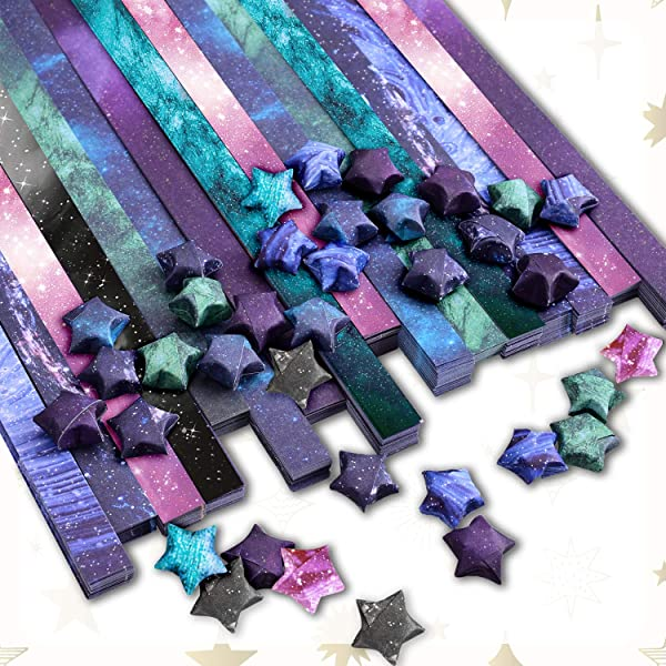 Paperkiddo 800 Sheets Origami Stars Paper 8 Different Designs of Beautiful Outer Space Sky for Paper Arts Crafts Kids Luminous Starry Sky Grown-ups School Teachers Folding Origami Star Paper Strips (Color: Sky)