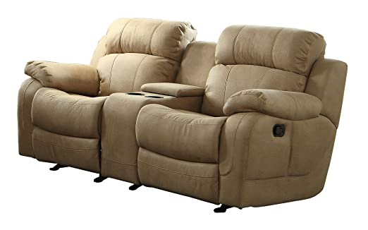 Homelegance 9724TPE-2 Transitional Textured  Bonded Leather Reclining Love Seat with Center Console, Taupe