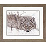 Dimensions 70-35377 Wolf in Snow Cross Stitch Kit, 14 Count White Aida Cloth, 14