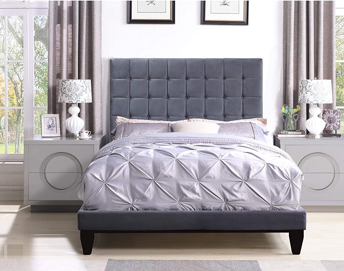 Iconic Home Verdi Bed Frame with Headboard Velvet Upholstered Button Tufted Tapered Birch Legs, Modern Transitional, King, Grey