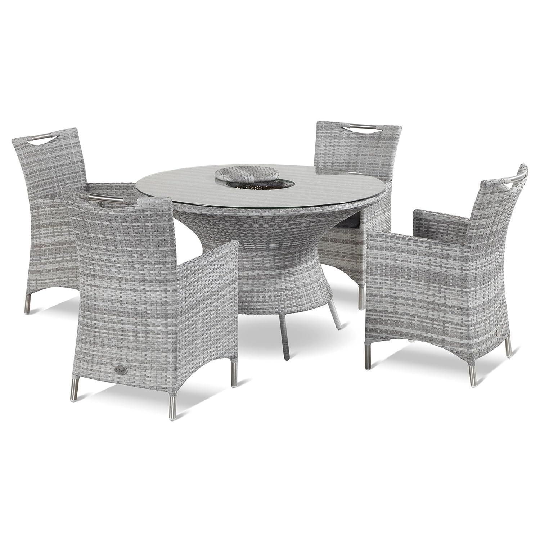 Hartman Montego Set 5tlg. Stuhl Montegette Tisch mit Eiskühler royal grey flat