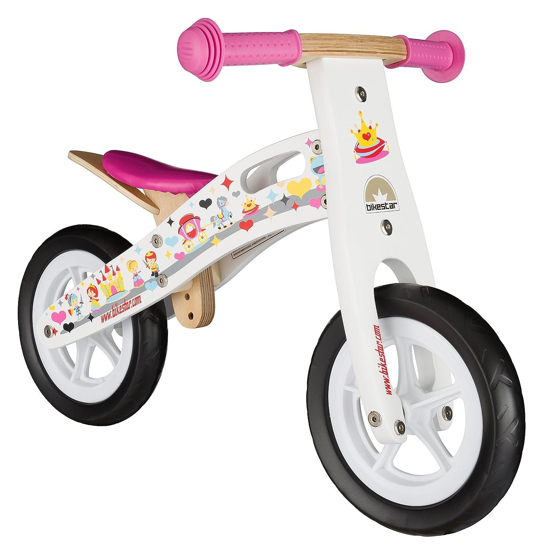 BIKESTAR® Premium Kinderlaufrad für kleine Abenteurer ab 2 Jahren ★ 10er Natur Holz Edition ★ Prinzessinnen Weiß günstig