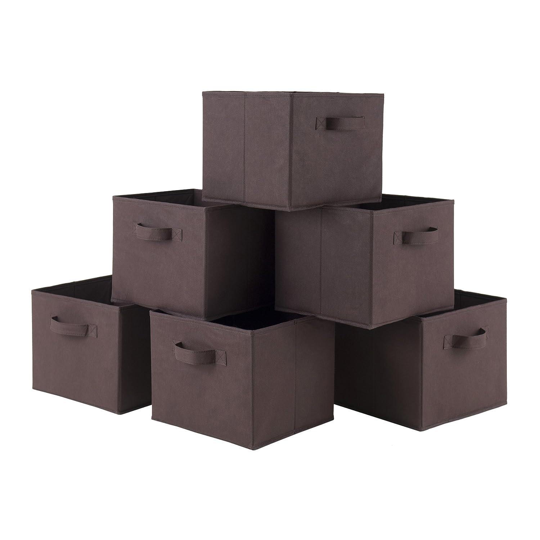 Storage Basket Set Folding Set Of 6 Fabric Bins Organizer ...