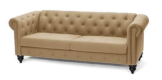 Slaap Sofa & Chaise - Sofá clásico Chester 2,5 plazas. Beige. EN KIT. Medidas: 206x84x78cm.