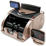 Money Counter Machine - Bill Counter Machine - Portable Money Machine Counter - 150 Straps & Counterfeit Detector Pen - Money Counting Machine for Mixed Bills - Currency Counter - Dollar Cash Counter (Color: Gold)