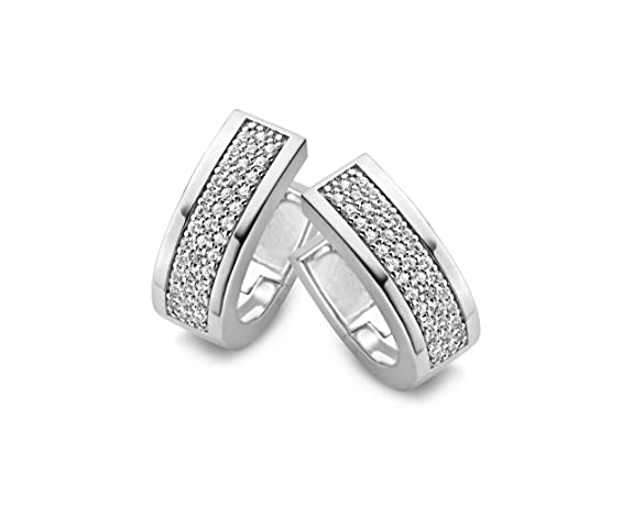 Orphelia Women's Creole Earrings 925 Sterling Silver with White Zirconia ZO - 5075