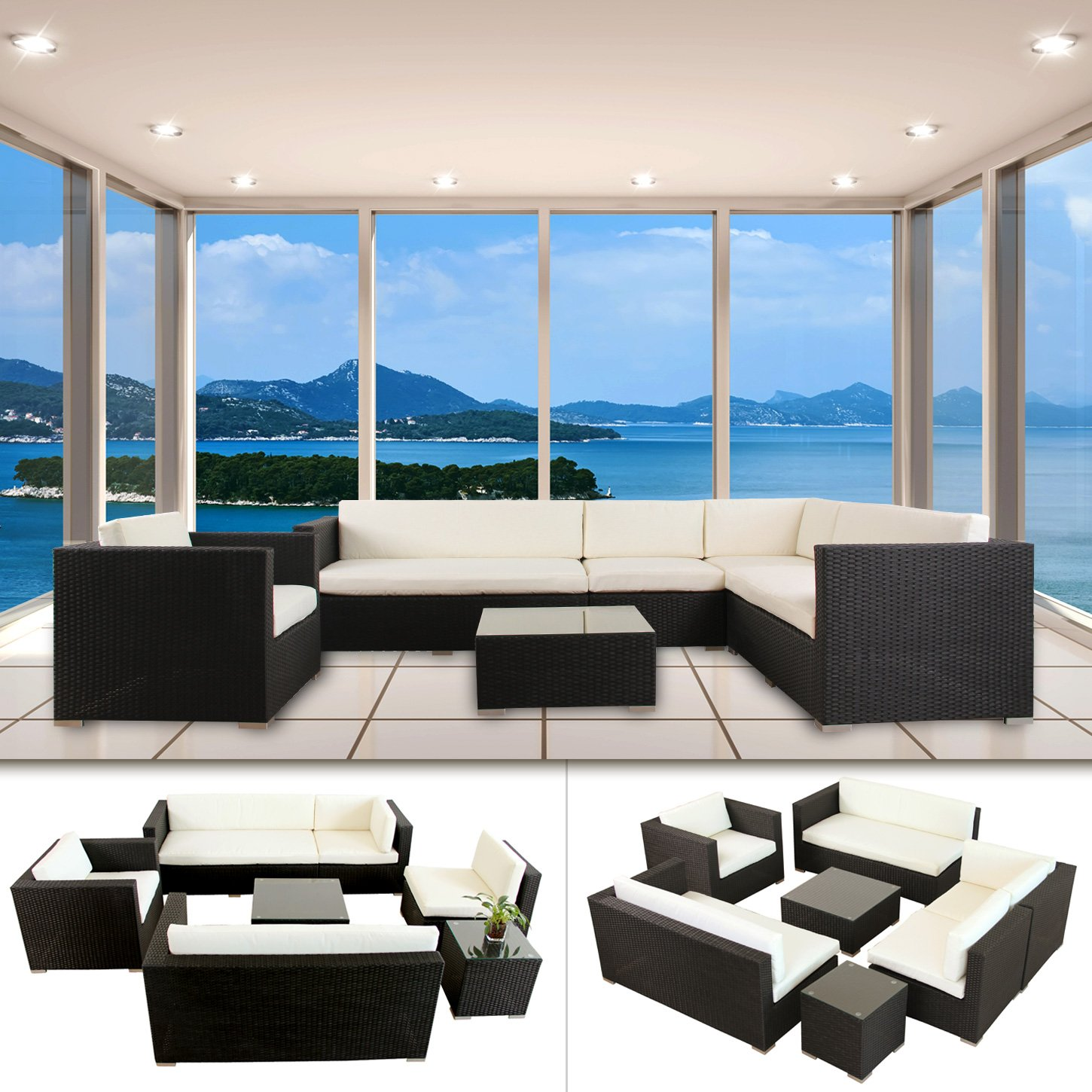 napoli polyrattan schwarz gartenm bel rattan lounge gartenset sitzgruppe alu g nstig bestellen. Black Bedroom Furniture Sets. Home Design Ideas