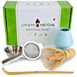 UMAMI MATCHA Traditional Tea Set | Bamboo Matcha Whisk & Scoop | Stainless Steel Sifting Strainer | Ceramic Blue Wisk Holder | Best Authentic Accessory Kit For Japanese Matcha Green Tea Ceremony (Color: Celadon)