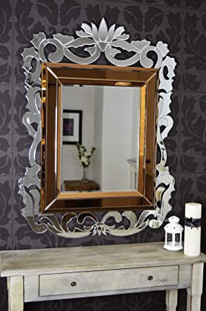 Large Modern French Baroque Bronze Edge Wall Mirror 4Ft6 X 3Ft4, 135cm X 100cm