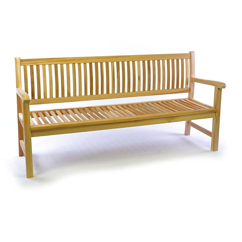 DIVERO 3-Sitzer Bank Gartenbank 180 cm aus hochwertigem massivem Teak-Holz reine Handarbeit Sitzbank für 3-Personen (Teak natur)