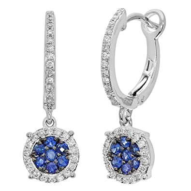 Naava Pave Set Diamond and 0.35 ct Sapphire Round Drop 9 ct White Gold Earrings