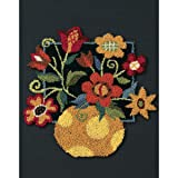 Dimensions Floral on Black Punch Needle Embroidery Kit, 8' W x 10' L