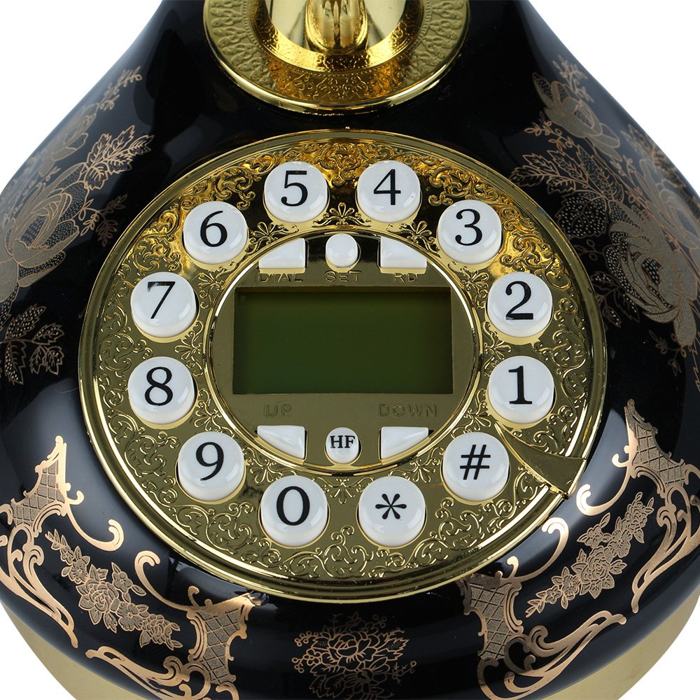 LNC Black Ceramic LNC Retro Vintage Antique Style Push Button Dial Desk Telephone Phone Home Living Room Decor 3