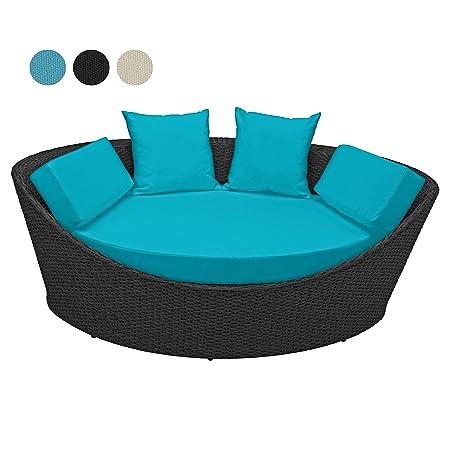 Deluxe Rattan Lounge KORFU 1 teilig 3 Jahre Garantie Rattanfarbe schwarz Kissenbezuge turkis