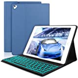 SENGBIRCH Compatible Keyboard Case iPad 9.7 2018 - iPad 9.7 2017 - iPad Air 2&1 - iPad Pro 9.7-7 Colors Backlit Detachable Keyboard - PU Leather Stand - iPad Keyboard Case, (Blue, 9.7) (Color: Blue,black keyboard (9.7))