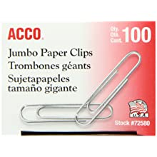 ACCO Paper Clips, Economy, Smooth, Jumbo, 100/Box, 10 Boxes (72580)