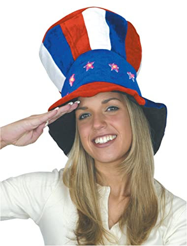 052cbcd6137e Jacobson Hat Company Men's Uncle Sam Velvet Top Hat with Light-Up Stars  Jacobson Hat Company Men's Uncle Sam Velvet Top Hat with Light-Up Stars