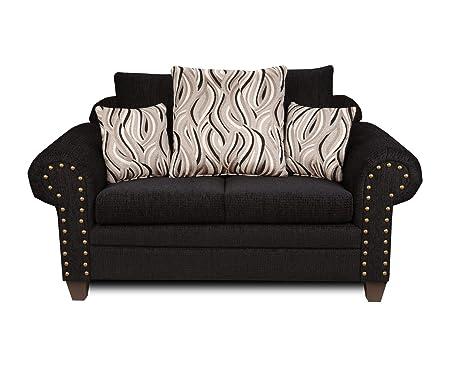 Chelsea Home Furniture Amanda Loveseat, Delray Black/Jazzy Granite