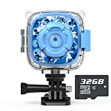 AKAMATE Kids Action Camera Waterproof Video Digital Children Cam 1080P HD Sports Camera Camcorder for Boys Girls, Build-in 3 Games, 32GB SD Card (Blue) (Color: Blue)