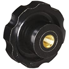 "DimcoGray Black Phenolic Fluted Torque Knob, Brass Insert: 3/8-16"" Thread x 1/2"" Depth, 2-3/8"" Diameter x 1-5/16"" Height x 1-1/4"" Hub Dia x 5/8"" Hub Length (Pack of 10)"