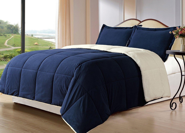 Navy Blue Queen Bedding: Reversible Comforter Sets