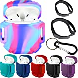 Greatfine 3 in1 Protect Kit for Airpods, Silicone Airpods Charging Case Protective Cover, Detachable Carabiner and Fastening Straps (Technicolor) (Color: Technicolor)