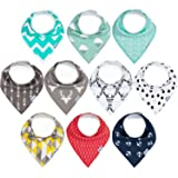 10-Pack Baby Bandana Bibs Upsimples Baby Drool Bibs Unisex for Drooling and Teething, Organic Cotton and Super Absorbent Hypoallergenic Bibs for Baby Boys and Girls, Baby Shower Gift Set