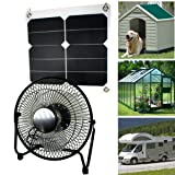 GOODSOZ 10W Solar Panel Fan Outdoor Home Chicken House RV Car Ventilation System (Tamaño: 10W Sunpower Solar panel + USB fan)