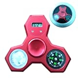 Fidget Spinner Metal Rainbow Cool with Compass Clock Led Light (RED) (Color: RED, Tamaño: red)