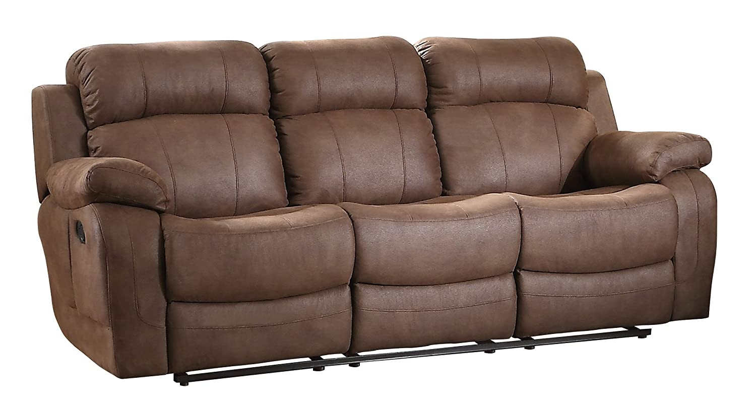 Homelegance 9724DBR-3 Transitional Textured Brown Bonded Leather Reclining Sofa w/Center Drop Down Cup Holder