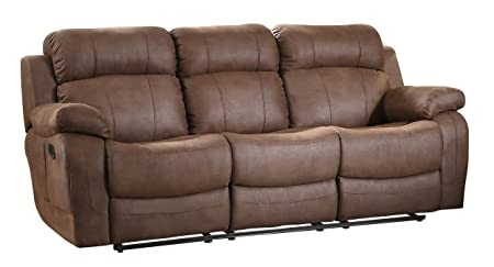 Homelegance 9724DBR-3 Transitional Textured Brown Bonded Leather Reclining Sofa w/ Center Drop Down Cup Holder
