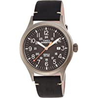 Timex Expedition Scout Black Leather Strap Metal Mens Watch