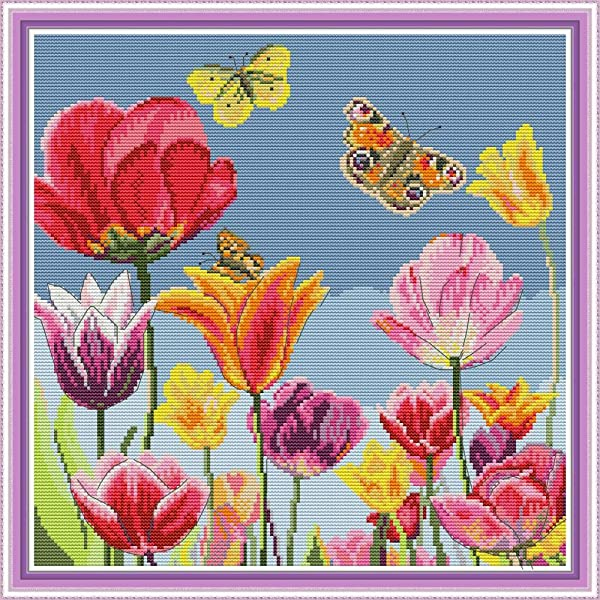 Cross Stitch Counted Kits Stamped Kit Cross-Stitching Pattern for Home Decor, 11CT Pre-Printed Fabric - DIY Art Crafts & Sewing Needlepoint Kit(Printed Kits,Tulip) (Color: Printed Kits,Tulip)