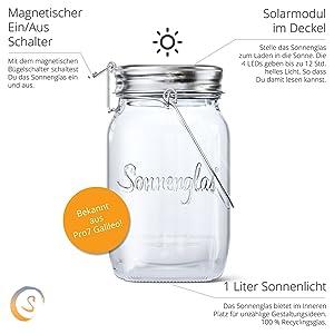 Sonnenglas Original Solar Powered Led Lantern Table Light With