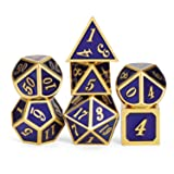 Heavy Polyhedral Metal Dice Set with Metal Box, 7-die Shiny Blue Surface with Golden Number for RPG,Dungeons and Dragons,Pathfinder,Shadowrun,D&D,Role Palying Game and Math Teaching (Color: Blue With Gold Number)