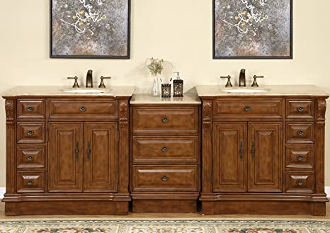 Silkroad Exclusive Travertine Stone Top Dual Sink Bathroom Vanity with Cabinet, 95-Inch