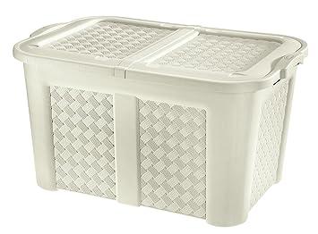 o0okreher coffre de rangement xxl xxl en plastique pour la la maison le jardin blanc effet. Black Bedroom Furniture Sets. Home Design Ideas
