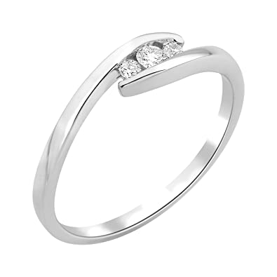 Miore Wedding Ring, 9 Carat White Gold 0.1-Carat Diamond T56-MF9069R6