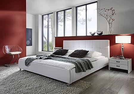 SAM® Polsterbett Zarah 160 x 200 cm weiß, Bett mit chrom-farbenen Fußen, modernes Design, Kopfteil abgesteppt, als Wasserbett verwendbar