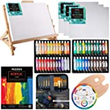 MEEDEN 66-Piece Acrylic Painting Set with Solid Beech Wood Table Easel, 48×22ML Colors Acrylic Paint and All The Additional Supplies, Perfect Christmas Gifts for Beginning Artists, Students and Kids