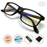 J+S Vision Reading Glasses with Anti Blue Light function, Crystal Clear Spring Hinged and Magnified iPad/tablet and Electronics Reading Glasses for Men and Woman (Power +2.50) (Color: Diopter Strength +2.50)