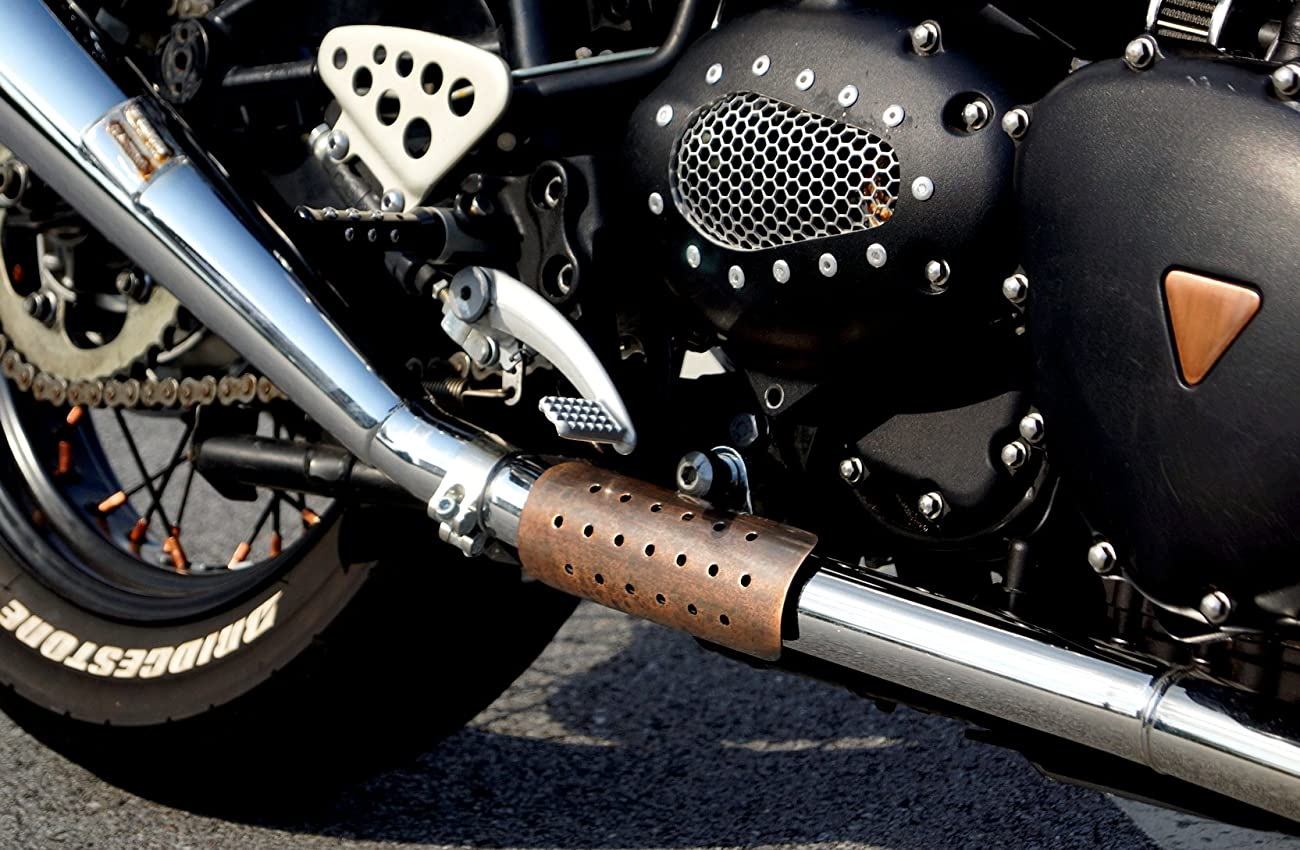 Mr Luckys Antique Copper 6 Inch Motorcycle Heatshield for Harley, Bobber, Chopper, Vintage, Retro, Custom 2