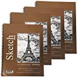 GIFTEXPRESS Bound Spiral Premium Sketch Book Sketch Pads Set, 4 pads x30-Sheets, 8.5