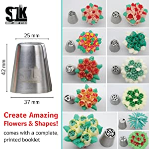 105pc Russian piping tips set, 50 numbered stainless steel nozzles, leaf tip, 3-color+ single coupler, 40 pastry bags, silicon bag, 5 cleaning brushes, GIFT box, plastic scissors & 5 silicon cake cups (Color: Stainless Steel, Tamaño: 50 tips (105pc) Mega set)